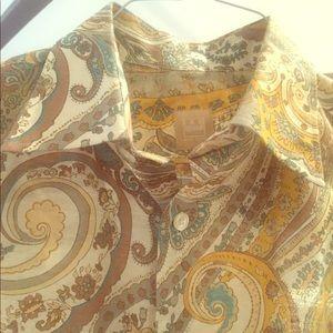 Ike Behar Linen Paisley long sleeve button down L